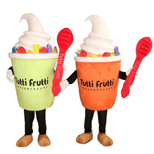 Lustiges Eiscreme-Joghurt-Maskottchen-Kostüm-Karnevals-Festival-Partei-Kleid-Handelswerbung-Kostüm für Erwachsenen