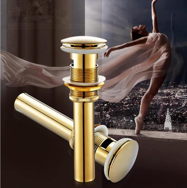 Nuovo Antique / oro / oro rosa rifiuti bacino ottone bagno scarico vanità lavello del vaso di scarico con trabocco / senza troppopieno