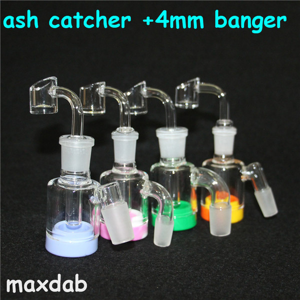 wholesale Glass Ash Catcher With Male14mm 18mm Joint Bubbler Glass Perc Ashcatcher bong ash catcher Silicone wax Container silicone dab pad