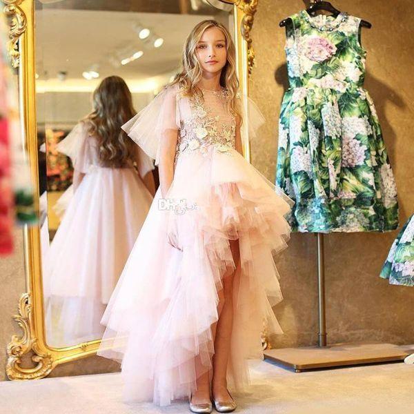 Modesto High Low Pink Flower Girls Abiti Jewel Neck Capped Sleeve asimmetrico Hem Kid Pageant Dress Tulle Front Short Back Long Prom Abito
