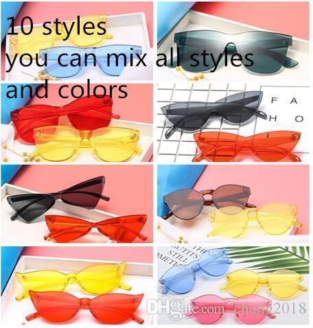 10 estilo new fashion women flat óculos de sol da marca designer de óculos de sol eyewear candy color espelho uv400 oculos de sol hzyj7-8