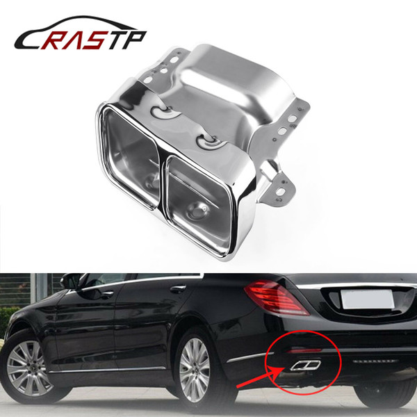 RASTP-Car Auto Square Exhaust Muffler Tips Stainless Steel Exhause Pipe for Mercedes Benz A45 W176 RS-CR2001