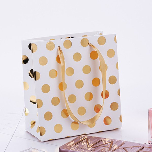 12pcs/pack Christmas Pouch Decoration Paper Portable Party Favor With Handles Polka Dot Celebration Gift Bag Tote Present