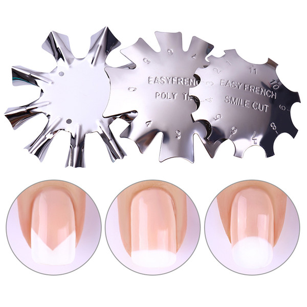 Easy French Line Edge Nail Cutter Stencil Tool Smile Shape Trimmer Clipper Styling Forms Manicure Nail Art Tools