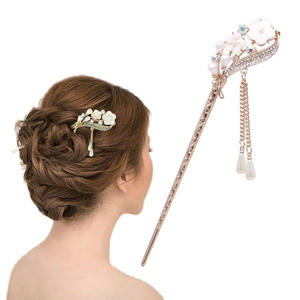 2016 Women Elegant Secluded Orchid Bobby Pin Fashion Hairpin Rhinestone Hair Stick