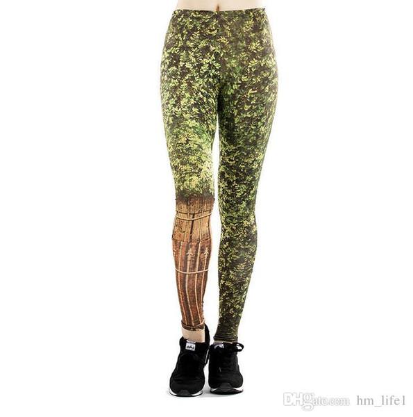 Mujeres Pantalones de yoga Pantalones Pantalones Pantalones Mujer Nueva Cintura alta danza activa Dama temblando Verde Impresión Leggings Flaco silm movimiento