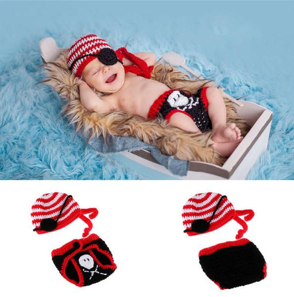 Baby Photography Props Baby Boys Pirate Costume Fotografia Props Infant Knitted Newborn Photo Shoot Outfits
