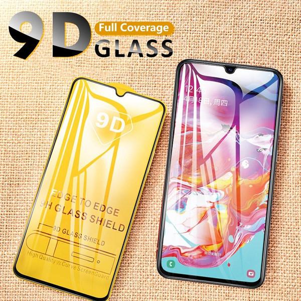 9D cubierta vidrio templado para el Galaxy A50 A40 A30 protectora de cristal protector para Galaxy A70 A80 A90 A60 A20 A10