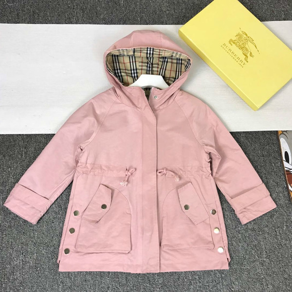 Girls hooded trench coat kids designer clothing autumn classic long sleeve coat cute pink full of charm trench coat