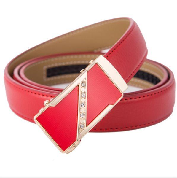 2019 nueva correa de cuero de la hebilla automática rojo versátil cinturón de la hebilla del amor al por mayor de moda de cuero señora de las mujeres de la correa pura de vaca