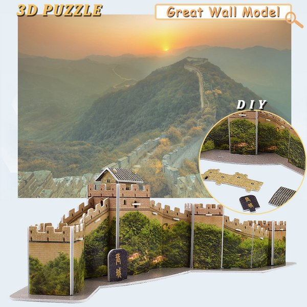 best selling The Great Wall 3D Puzzles Building Model Kit DIY Handmade Assembling World Attractions Education Toys for Kids Creative Gifts Home Decor