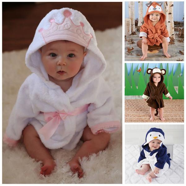 Coral Fleece Animal Blanket Infant Hooded Wrap Bathrobe Baby Bath Towel W