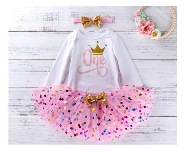 2020 New Baby 1 ° compleanno della ragazza Dot Tutu Gonne 0-24 Month infante appena nato del pagliaccetto cotone dei vestiti del pagliaccetto + Rosa Tutu gonna + fascia = 3PCS / Set