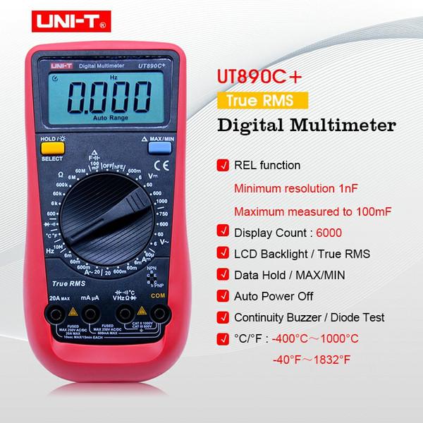 UNI-T UT890C+ True RMS Digital Multimeter with C/F Temperature Capacitance Frequency Multi Meter Diode Tester