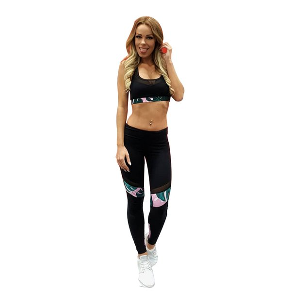 Yoga Set Mesh Patchwork Running Clothes for Women Black Seamless Workout Clothes Summer Runnning Sport Wear Fitness Gym Clothing