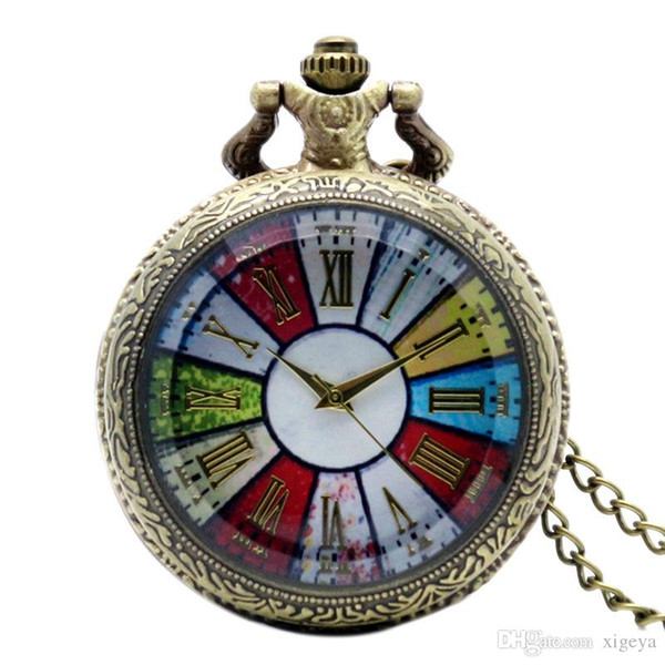 Wholesale-Colorful Dial Roman Numbers Quartz Pocket Watch Necklace Chain Vintage Clear Glass Case Fob Watches Free Shipping