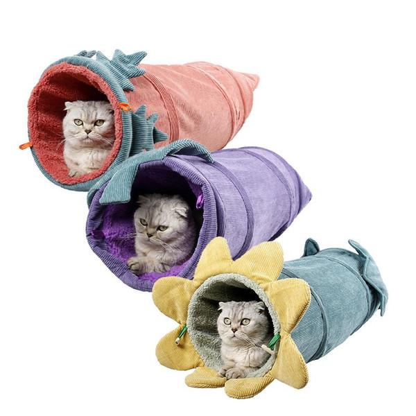 Tunnel de jouet pour animal de compagnie Matelas de nid de chat pliable Tube en velours côtelé Chaud Froid - Canal de preuve Canal Lit Animaux Fournitures
