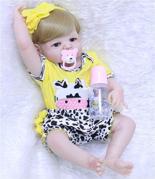 "22"" 55cm full silicone reborn babies dolls bebe alive stylish blonde hair girl fashion doll best gift kids bonecas brinquedos"