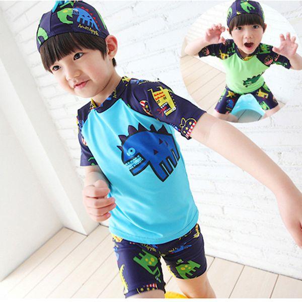 Children Boy Swimsuit Cartoon Dinosaur 2 Pieces Swim Suits Sunblock Beach Costume Bodysuit With Cap Kids Boys Swimwear 2-13y Y19052101