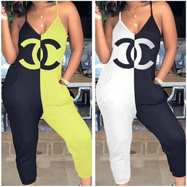 Yaz Kadın Tulum CHL Tek Parça Pantolon Kolsuz Dokuzuncu Pantolon Gallus Tulum Parti Giyim Tasarımcı Patchwork Pantolon Bodysuit Tulum Yeni