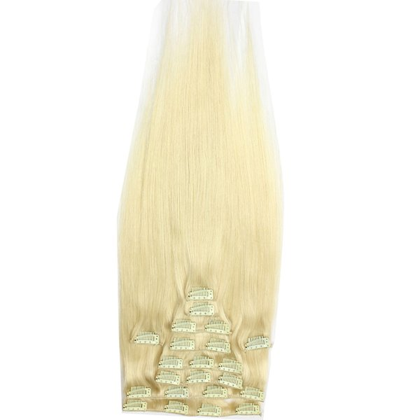 High Quality Remy Russian Clip Human Hair Extensions 613 Blonde Straight Virgin Raw Hair Bleached 12inch - 24inch 2 sets for a full head