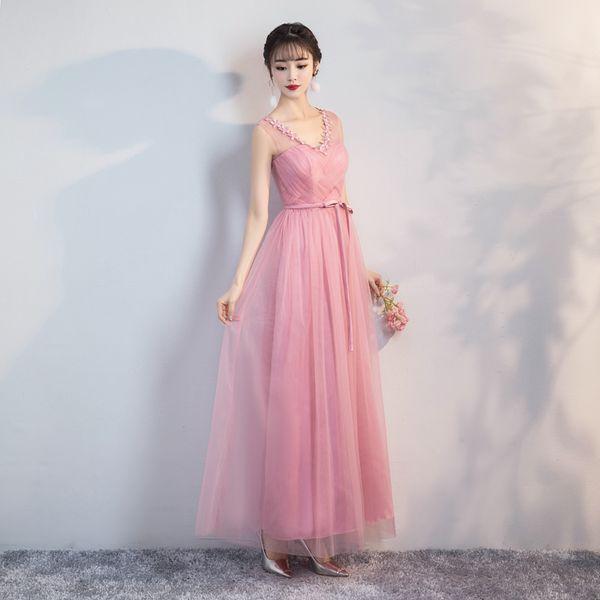 Abiti da damigella d'onore di colore rosa fagioli rossi Abiti da festa per donna Maxi