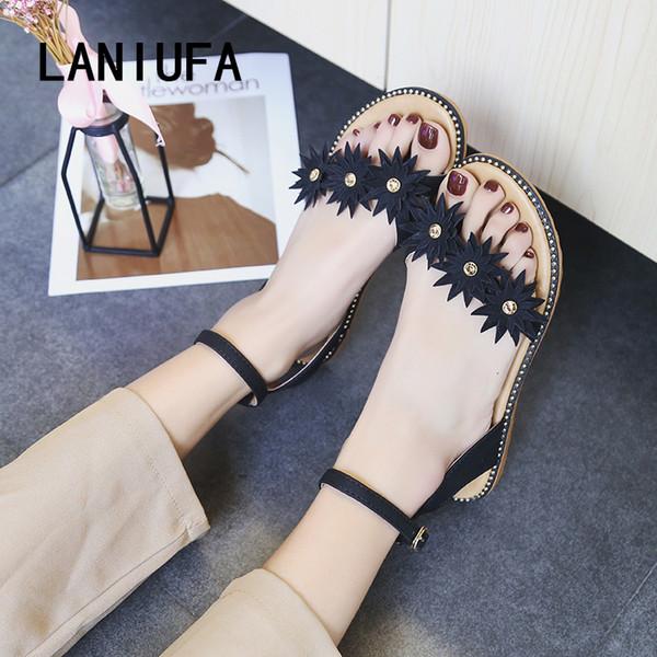abccb889777 Nuevo 2019 Verano Sandalias Mujer Chanclas Gladiador Roma Slip-On zapatos  casuales ocasionales de las