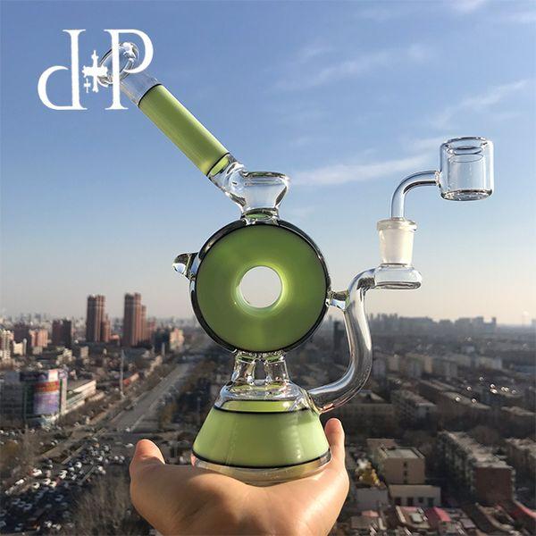 "Plus Glass Bong Dab Rig Water Pipe 010B Reseda Green ""Smoke Ring Donut"" heady art pipe Showerhead percolator 8.5 Height"
