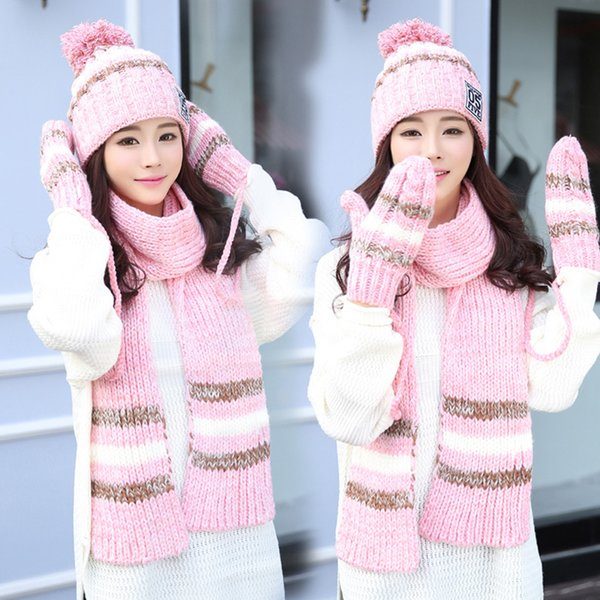 Hat, scarf, gloves, three-piece winter Korean version, lovely suit, holiday, Christmas, birthday gifts, gift box.