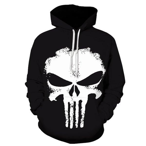 Punisher Hoodies Donna Uomo Teschi Stampa 3D Felpe Supereroe Pullover Novità Tuta Moda con cappuccio Streetwear Autunno Casual Tops