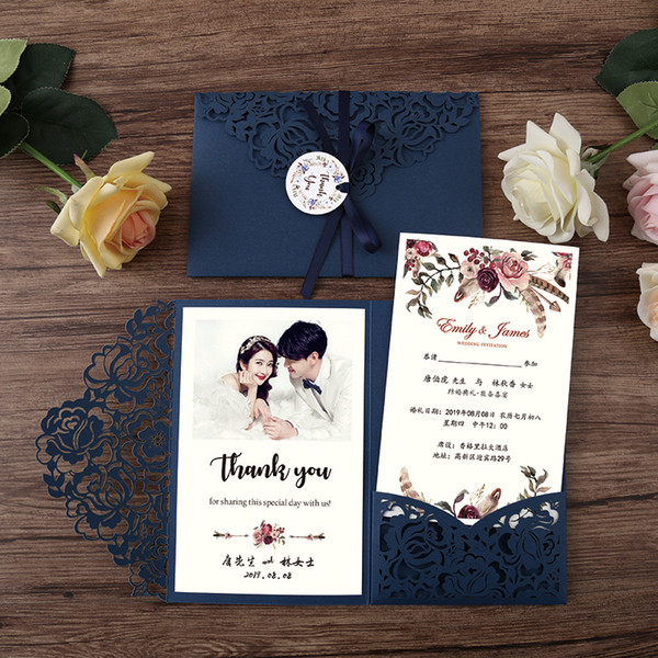 Free Printable Graduation Invitations 2020.2020 Floral Laser Cut Wedding Invitation With Ribbon Blue Trifold Pocket Invitations For Bridal Shower Printable Quinceanera Invites Rsvp Great