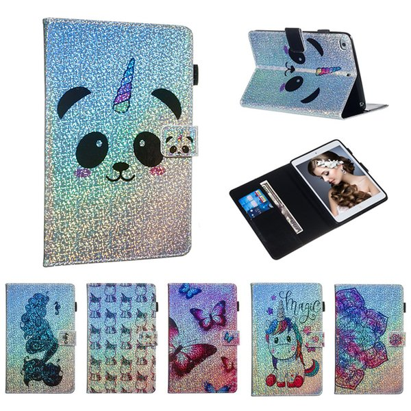 Cartoon Printed Gillter Tablet Case for iPad Mini 5 2019 Mini 4 Screen Cover PU Leather Flip Cover Case for iPad Mini 1 2 3 Smart Cover