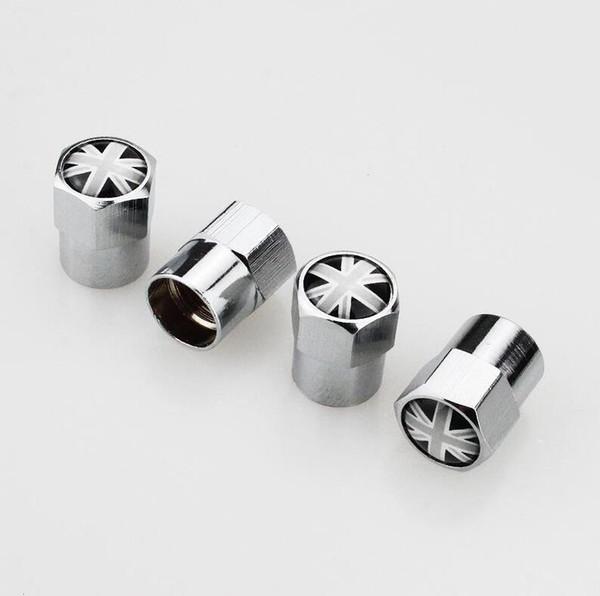 MINI Cubo de metal Cubiertas de válvula de neumático Neumático Inglaterra Reino Unido bandera Union Jack Válvulas Tapa de válvula Rueda de polvo de aire Tapas de coche Insignias aptas para Mitsubishi
