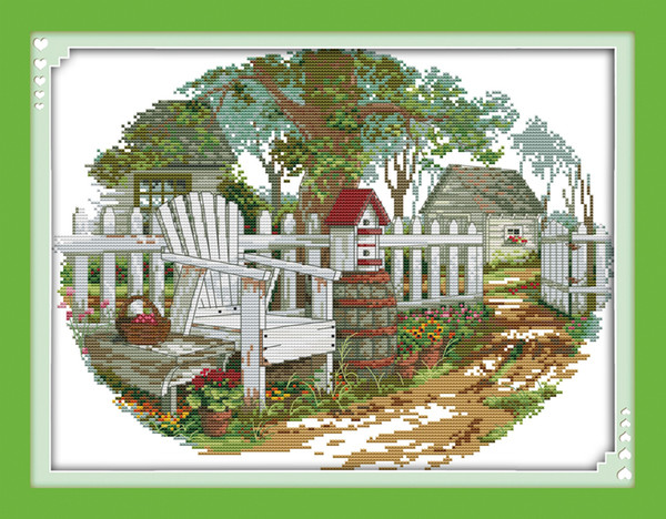 The Country cottage Europe garden decor painting ,Handmade Cross Stitch Embroidery Needlework sets counted print on canvas DMC 14CT /11CT