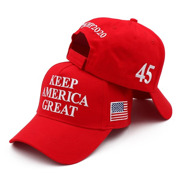 top popular Donal Trump Baseball Cap Hat keep Make America Great Hats Donald Trump Election Cap Embroidered Cotton Casquette Customizabl 100pcs T1I2002 2021