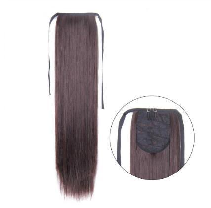 Clip lunga dritta da 60 cm nella coda dei capelli Coda di capelli falsa Coda di cavallo con forcine Estensioni dei capelli di coda di cavallo sintetica