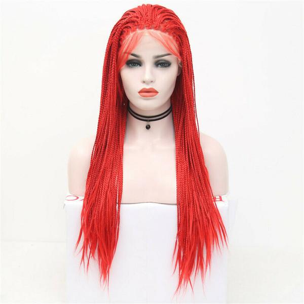 Red Box perruque synthétique tressée main Cosplay attachée avant de lacet perruque droite partie libre perruque de cheveux en fibre résistant à la chaleur pour les femmes