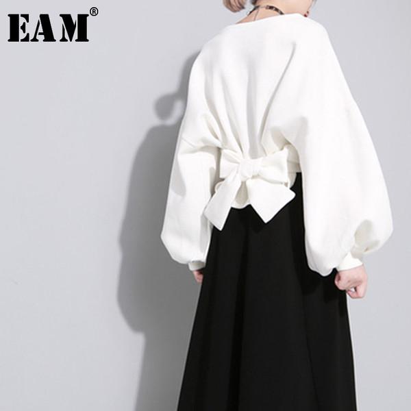 [EAM] 2020 Новая осень зима шею длинным рукавом сплошной цвет Черная задняя бинты Bow Сыпучие Толстовка Женщины моды JE14101