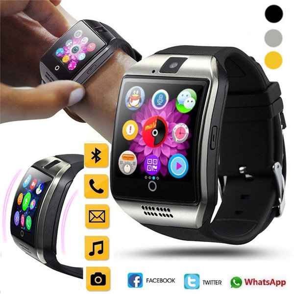 Bluetooth Smart Watch Men Q18 With Touch Screen Big Battery Support TF Sim Card Camera for Android Phone Smartwatch pk DZ09 GT08
