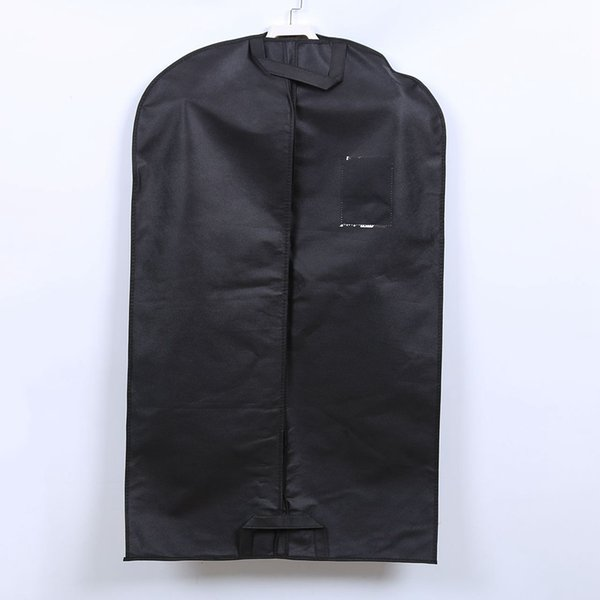 Non Woven Suit Overcoat Dust Proof Cover High Quality Black Clothing Storage Bag Travel Garment Carrier PPA424