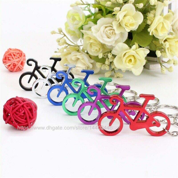 100pcs aluminum Alloy sport bike shaped bottle opener keychains bicycle beer openers key ring key chain gift mix colors