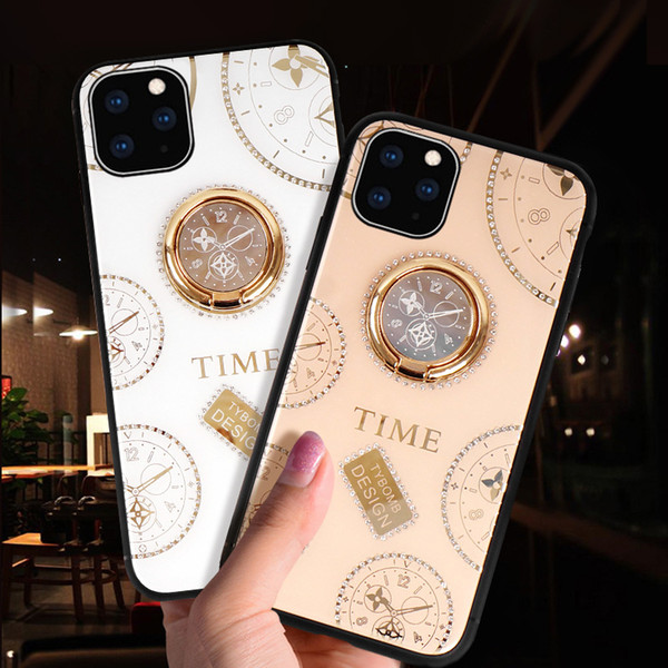 Applicable iPhone 11 iPhone X / XS cas de téléphone mobile Nouveau verre cadran d'horloge créative silicone xr strass cas