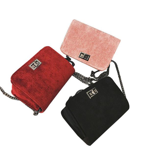 good quality Designer Sling Shoulder & Crossbody Bags Cotton Hasp Solid Chain Women Bag Handbags Sac A Main Women Messenger Bags