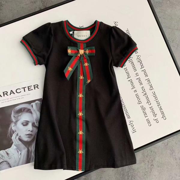 Brand Designer Mädchen Kleid Mädchen High-End-Mode Kleid Sommer lässig 100% Baumwolle Kleid meistverkaufte Kinder Kurzarm T-Shirt