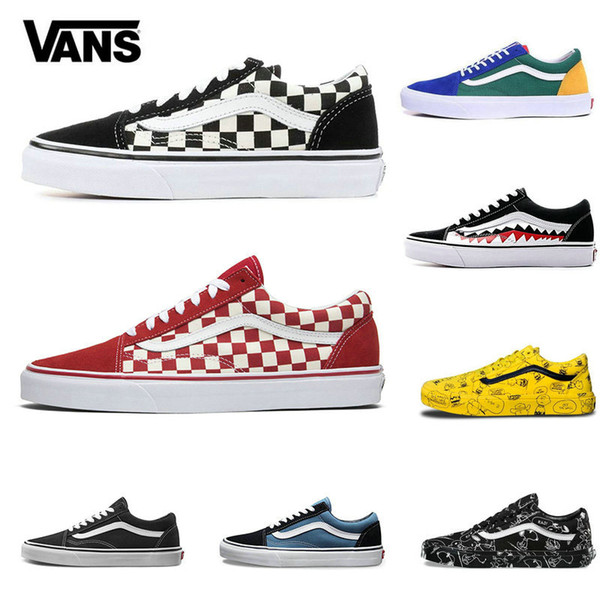 2020 Vans Old Skool Men Women Sk8 Hi Casual Shoes Rock Flame Yacht Club Sharktooth Peanuts Skateboard VANS Mens Canvas Skate Sneakers Shoes For Women