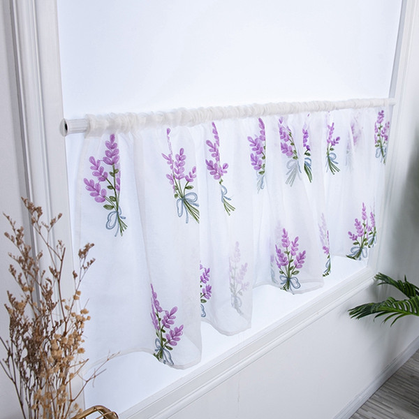 Decoração Semi Home bordada da casa do bolso de CurtainRod do buquê do quarto, cortina curta para a sala de visitas do banheiro da cozinha