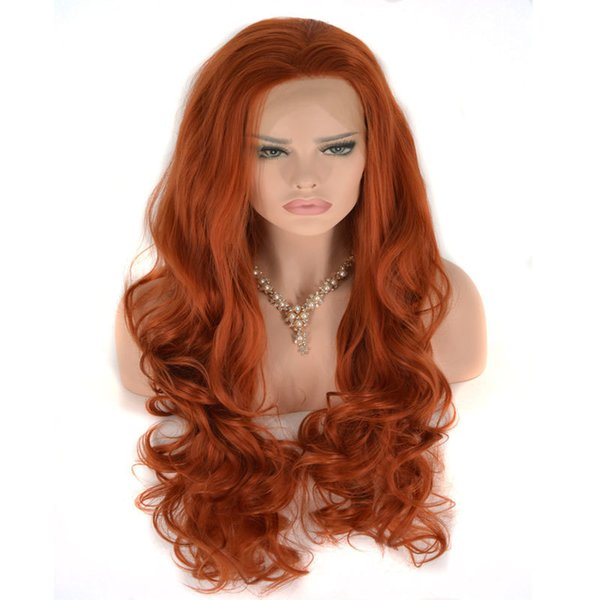 Orange Red Body Wave Hand Tied Synthetic Lace Front Wigs Heat Resistant Fiber Free Part Natural Hairline For Women
