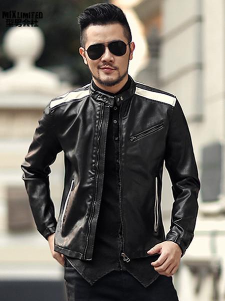 Men Autumn Fashion Slim Pu Leather Short Jacket Metrosexual Man Motorcycle Bikers Casual New Zipper Black White Jacket F012 SH190809