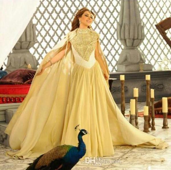 Abendkleider im Nahen Osten Nancy Ajram 2019 New High Neck Perlenstickerei auf Spitze Top mit Chiffon Cape Celebrity Party Kleider