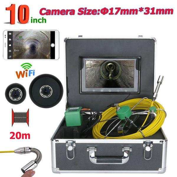 20M 10 pulgadas WiFi Inalámbrico 17 mm IP68 Impermeable Tubería de drenaje Sistema de cámara de inspección de alcantarillado 1000 TVL con 8pcs luces LED